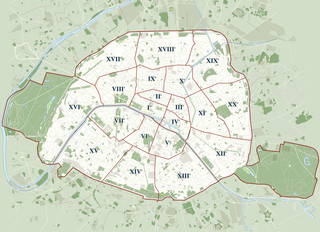Plano de distritos (arrondissements) de Paris